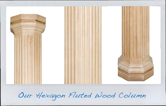 wood hexagonal fluted columns hardwoodcolumns com
